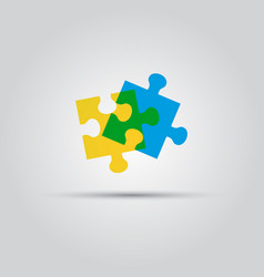 two puzzle pieces isolated colored logo vector image