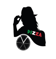 woman with pizza vector image vector image