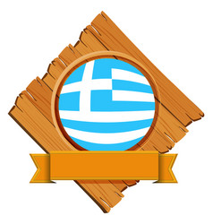 flag of greece on wooden board vector image