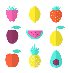 fruits flat set with raspberry lemon and vector image vector image