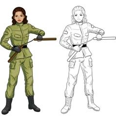 Indonesian nunchuck girl in military uniform vector