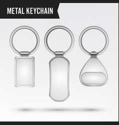 realistic template metal keychain set 3d vector image