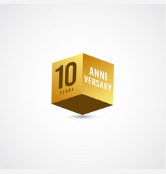 10 years anniversary celebration gold 3 d label vector
