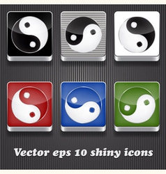 6 shiny icons with yin yang symbol vector image