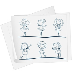 A paper with an image of six girls in different vector