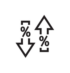 arrows up down with percent symbol - web black vector image