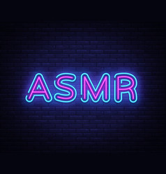 Asmr neon text autonomous sensory meridian vector