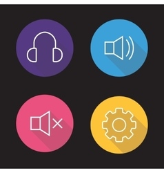 Audio player flat linear icons set vector