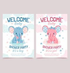 Baby shower elephant invitation card for newborn vector