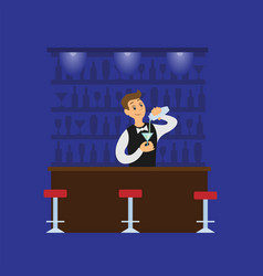 barman making cocktail pouring in glass vector image