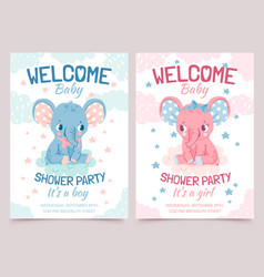 Bashower elephant invitation card for newborn vector
