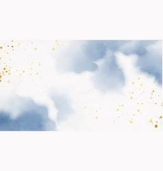 beautiful navy blue and golden watercolor wet vector image
