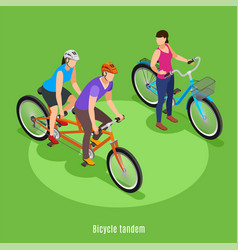 bicycle tandem isometric background vector image