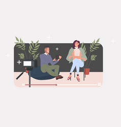 bloggers couple recording video blog with digital vector image
