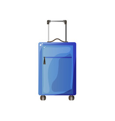 blue polycarbonate suitcase with wheels traveler vector image