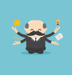 boss businessman practicing mindfulness vector image