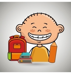 boy student bag color book vector image