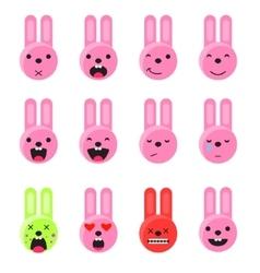 Bunny smile emoji set Emoticon icon flat style vector image