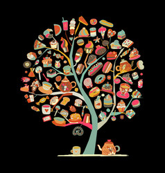 cakes and sweets art tree for your design vector image