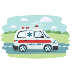 cartoon ambulance vector image