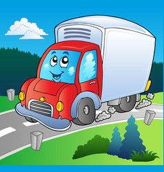 cartoon delivery truck on road vector image