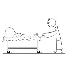 Cartoon doctor or orderly pushing cart with vector