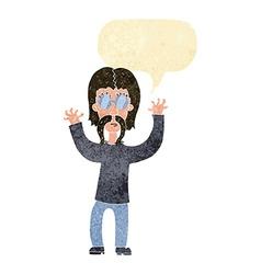 Cartoon hippie man waving arms with speech bubble vector