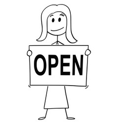 Cartoon of woman or businesswoman holding sign vector