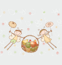 Cheerful elves flying with a basket fruit vector