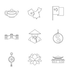 China icon set outline style vector