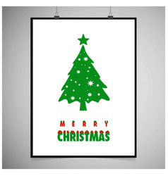 christmas card with tree and snow frame vector image