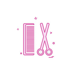 comb and scissor icon design vector image