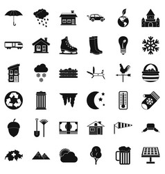 Country house icons set simple style vector