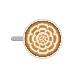 Cup fresh coffee with latte art top view vector