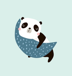 cute slepping panda on moon childish print vector image