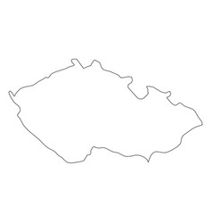 czech republic - solid black outline border map of vector image