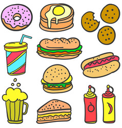 Doodle of food style design collection vector