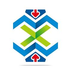 element arrow letter x combination m vector image