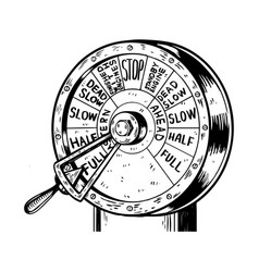 Engine order telegraph engraving vector
