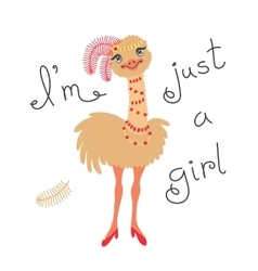 Fashionable ostrich chick T-shirt design vector image