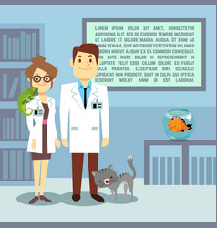 Flat veterinary office with doctors and animals vector