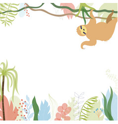 Floral card with sloth vector