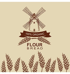 Flour bread label design Bakery retro vector