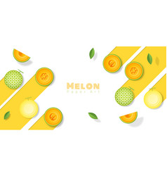 Fresh melon fruit background in paper art style vector