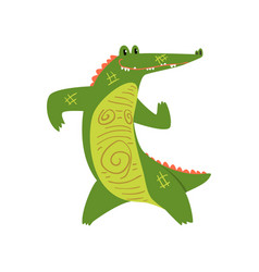 friendly crocodile standing on two legs funny vector image