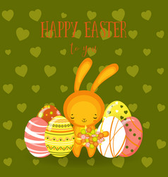 greeting cards cute easter bunny eggs flowers vector image