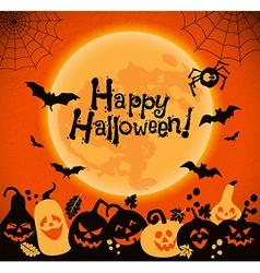 Halloween background of cheerful pumpkins vector