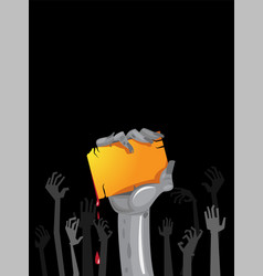 Halloween invitation with zombies hands vector