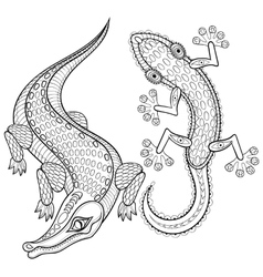Hand drawn zentangled Crocodile and Lizard for vector image