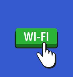 Hand mouse cursor clicks the wi-fi button vector